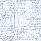 Math educational vector seamless pattern with formulas, calculations, equations, plots and geometrical figures. Handwritten on grid copybook paper. Endless Royalty Free Stock Photo