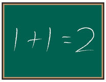 """Math equation on Chalkboard. Chalkboard with the equation """"1 + 1 = 2"""" written on it Stock Image"""