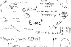 Math equations hand write scientific formulas and calculations in physics and mathematics on white stock images
