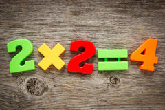 Math example with numbers magnets. On a wood background Stock Photography