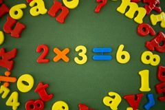 Math example. Of plastic magnetic numbers Stock Images