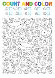 Math exercises for the study of numbers. Find, count and color. Printable worksheet for kindergarten and a preschool institution. Vector printable workshat Stock Photo