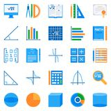 Math flat icons. Vector colorful mathematics symbols. Math flat icons. Vector colorful mathematics or algebra creative symbols or design elements vector illustration