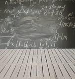 Math formulas on black board Stock Image
