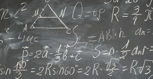 Math formulas on black board. Math formulas written in white chalk on black board banner royalty free stock image