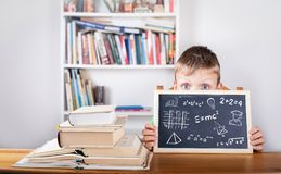 Math formulas, education and knowledge concept. Chalk board Back Royalty Free Stock Image