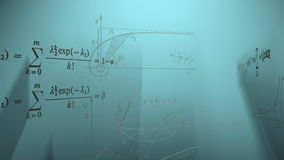 Math formulas flying in rays. Computer generated animation stock video