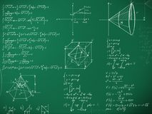 Math formulas on school blackboard Stock Photography