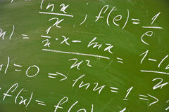 Math formulas on school blackboard Stock Photos