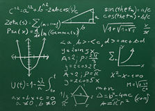 Math formulas on school blackboard education Royalty Free Stock Photos