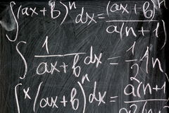 Math formulas written in chalk on school background. Close up Royalty Free Stock Photos