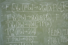 Math formulas written on the desk Stock Image