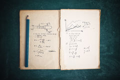 Math functions and thermodynamics calculations. In old book stock photos