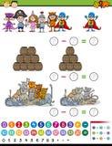 Math game cartoon illustration Royalty Free Stock Image