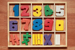 Math game for junior age with signs of numbers Royalty Free Stock Photography