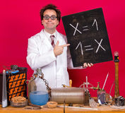 Math genius in the laboratory Royalty Free Stock Photo
