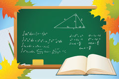 Math and geometry school autumn background. With blackboard, books and leves Stock Image