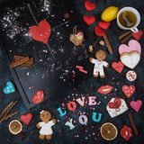 Math, hearts, formula of love. Math, gingerbreads , formula of love. Gingerbreads for Valentines Day or wedding theme royalty free stock photos