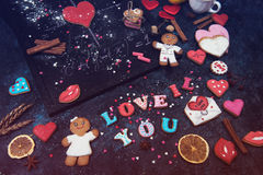 Math, hearts, formula of love Stock Images
