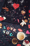 Math, hearts, formula of love Stock Photo