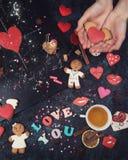 Math, hearts, formula of love Stock Photos