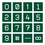 Math Icon Set 1. 16 icon set of mathematical numbers including cardinal sign, fraction sign and infinite sign Stock Images