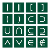 Math Icon Set 3. 16 icon set of mathematical symbols (function operators, group operators Stock Images