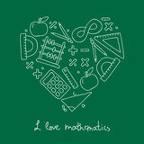Math icon in the shape of a heart Royalty Free Stock Photography