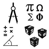 Math icons set in black color illustration Royalty Free Stock Photography