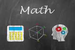 Math lesson on school blackboard concept Stock Image