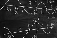 Math lesson. Sine and cosine functions. Graphics graphics drawn on the Board.  royalty free stock photos
