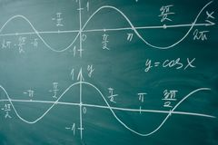 Math lesson. Sine and cosine functions. Graphics graphics drawn on the Board.  stock photos