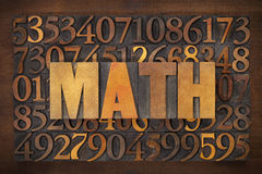 Math (mathematics) word. In vintage letterpress wood type against number background royalty free stock photo