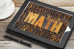 Math mathematics word in wood type Stock Images