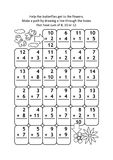 Math maze with addition facts for numbers up to 20. Math maze with addition facts: Help the butterflies get to the flowers. Make a path by drawing a line through royalty free illustration