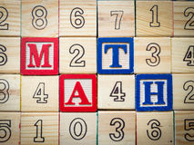 Math and numbers. In toy blocks Stock Photo