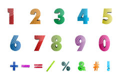 Math numbers with icons Stock Photography