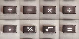 Math Operations. Set of basic math operations, buttons from an old calculator Royalty Free Stock Photos