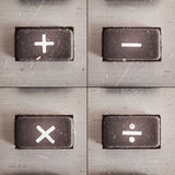 Math Operations. Set of basic math operations, buttons from an old calculator Royalty Free Stock Photography