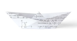 Math Paper Boat. Origami paper boat made using a sheet of paper full of mathematical formulas and graphs royalty free stock images