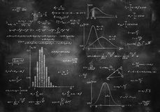 Math physics formulas on chalkboard. Math physics formulas on balck chalkboard Stock Photography
