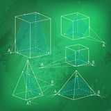 Math picture - sections of polyhedra. Geometry background on chalkboard. Stock Photo