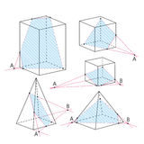 Math picture - sections of polyhedra. Geometry background. Royalty Free Stock Photo