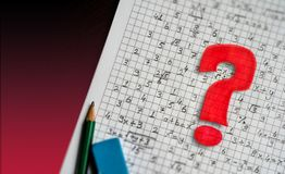 Math problem solving consept visual. mathematical signs and red question mark.  stock images