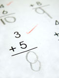 Math problems. That have been checked by the teacher royalty free stock photos