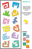Math puzzle - match the shapes to make squares Vector Illustration