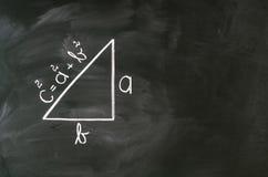 Math. Pythagoras formula write on blackboard with chalk Stock Image