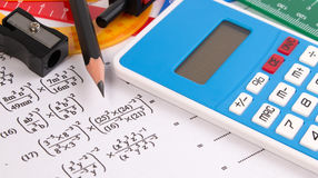 Math quadratic equation concepts. School supplies used in math. Math drawing tools with math equipment. Stock Photo