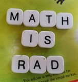 Math is Rad. A sign made out of scrabble letters saying Math is rad Royalty Free Stock Image