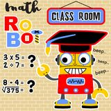 Math robot cartoon vector with bachelor hat royalty free illustration